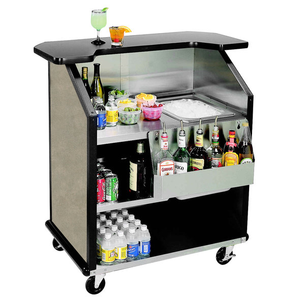 "Lakeside 884BS 43"" Stainless Steel Portable Bar with Beige Suede Laminate Finish, Removable 7-Bottle Speed Rail, and 40 lb. Ice Bin"