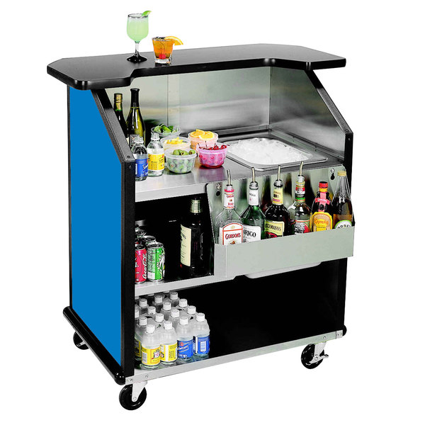 """Lakeside 884 43"""" Stainless Steel Portable Bar with Royal Blue Laminate Finish, Removable 7-Bottle Speed Rail, and 40 lb. Ice Bin"""