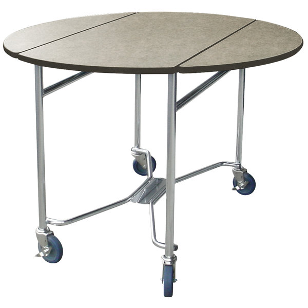 """Lakeside 412BS Mobile Round Top Room Service Table with Beige Suede Finish - 40"""" x 40"""" x 30"""""""