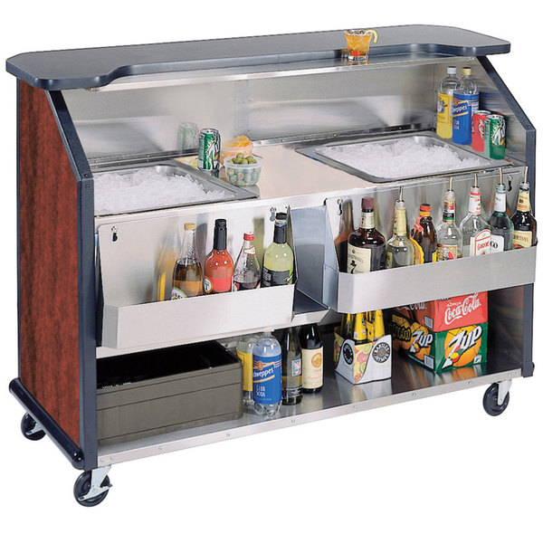 """Lakeside 886RM 63 1/2"""" Stainless Steel Portable Bar with Red Maple Laminate Finish, 2 Removable 7-Bottle Speed Rails, and 2 40 lb. Ice Bins Main Image 1"""
