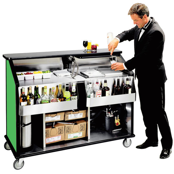 """Lakeside 889 63 1/2"""" Stainless Steel Portable Bar with Green Laminate Finish, 2 Removable 7-Bottle Speed Rails, and 70 lb. Ice Bin"""