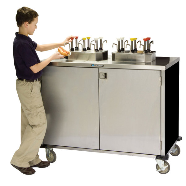 """Lakeside 70210 Stainless Steel EZ Serve 6 Pump Condiment Cart with Black Finish - 27 1/2"""" x 50 1/4"""" x 47"""""""