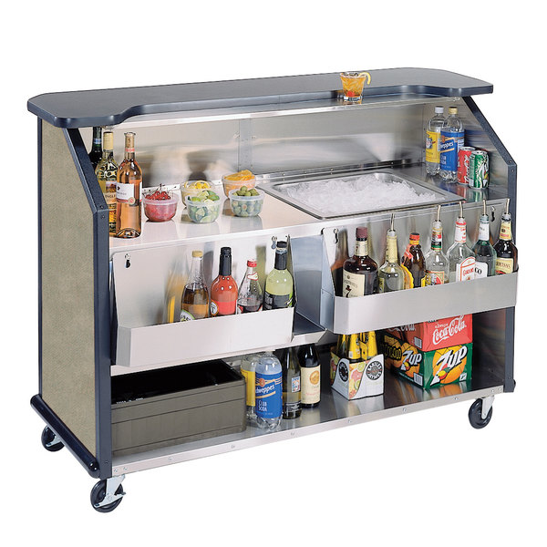 """Lakeside 887BS 63 1/2"""" Stainless Steel Portable Bar with Beige Suede Laminate Finish, 2 Removable 7-Bottle Speed Rails, and 40 lb. Ice Bin"""