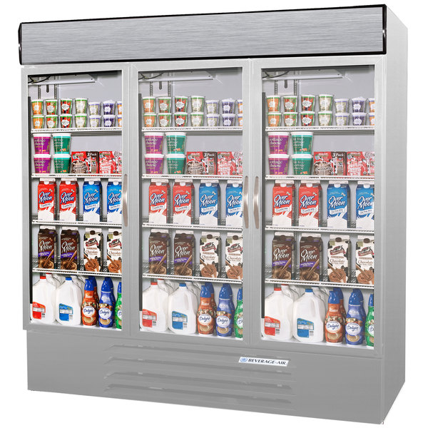Configuration G Beverage Air MMRF72-1-SW-LED Market Max Stainless Steel Three Section Glass Door Dual Temperature Merchandiser - 72 Cu. Ft.
