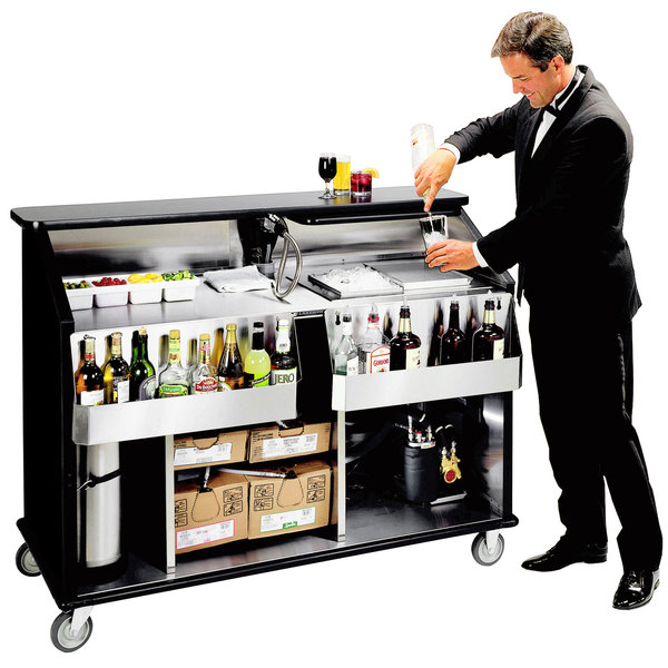 """Lakeside 889B 63 1/2"""" Stainless Steel Portable Bar with Black Laminate Finish, 2 Removable 7-Bottle Speed Rails, and 70 lb. Ice Bin Main Image 1"""