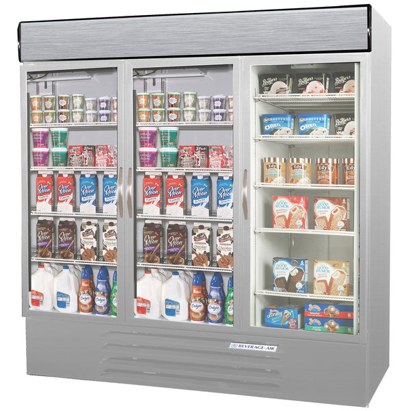Configuration J Beverage-Air MMRF72-1-SW-LED Market Max Stainless Steel Three Section Glass Door Dual Temperature Merchandiser - 72 Cu. Ft.