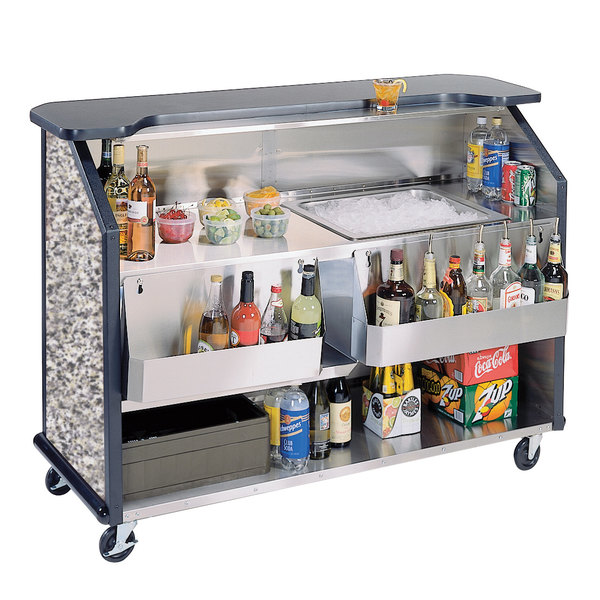 """Lakeside 887GS 63 1/2"""" Stainless Steel Portable Bar with Gray Sand Laminate Finish, 2 Removable 7-Bottle Speed Rails, and 40 lb. Ice Bin"""