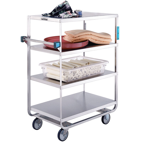 "Lakeside 761 Heavy-Duty Stainless Steel Four Shelf Utility Cart with 3 Edges Up and 1 Down - 54 1/2"" x 21 1/2"" x 49 1/4"""
