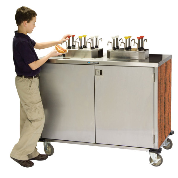 """Lakeside 70210VC Stainless Steel EZ Serve 6 Pump Condiment Cart with Victorian Cherry Finish - 27 1/2"""" x 50 1/4"""" x 47"""""""