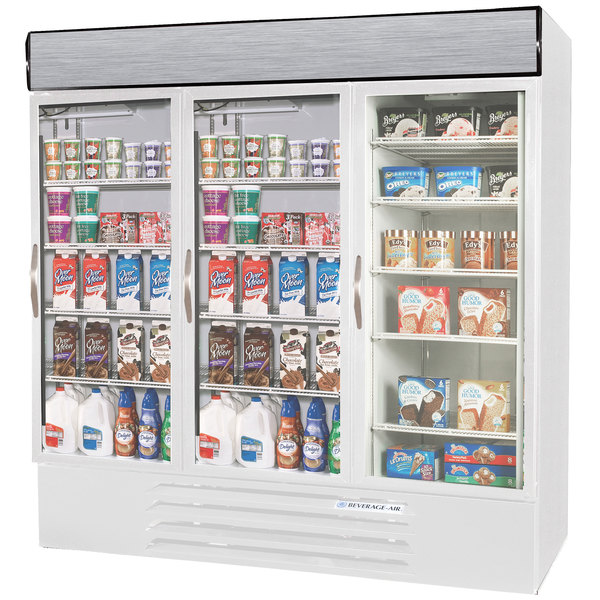 Configuration P Beverage Air Market Max MMRF72-1-WW-LED White 3 Section Glass Door Dual Temperature Merchandiser - 72 Cu. Ft.