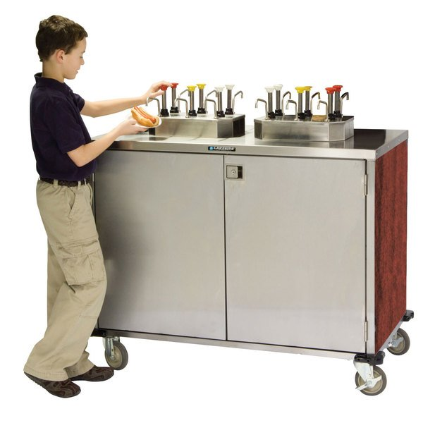 """Lakeside 70200 Stainless Steel EZ Serve 8 Pump Condiment Cart with Red Maple Finish - 27 1/2"""" x 50 1/4"""" x 47"""""""