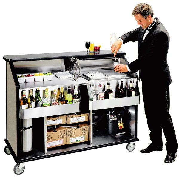 "Lakeside 889 63 1/2"" Stainless Steel Portable Bar with Beige Suede Laminate Finish, 2 Removable 7-Bottle Speed Rails, and 70 lb. Ice Bin"