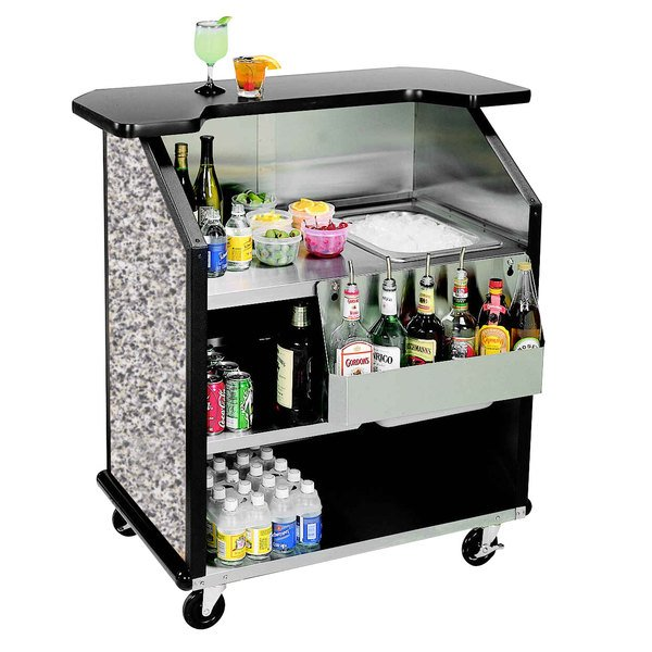 """Lakeside 884GS 43"""" Stainless Steel Portable Bar with Gray Sand Laminate Finish, Removable 7-Bottle Speed Rail, and 40 lb. Ice Bin"""