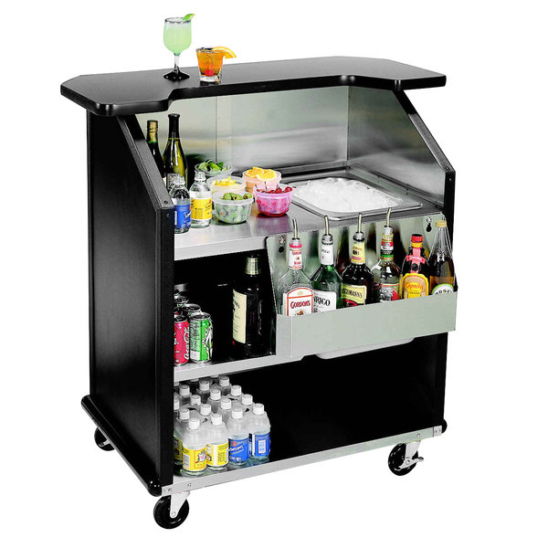 """Lakeside 884 43"""" Stainless Steel Portable Bar with Black Laminate Finish, Removable 7-Bottle Speed Rail, and 40 lb. Ice Bin"""