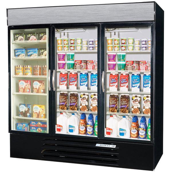 Configuration E Beverage Air Market Max MMRF72-1-BW-LED Black 3 Section Glass Door Dual Temperature Merchandiser - 72 Cu. Ft.