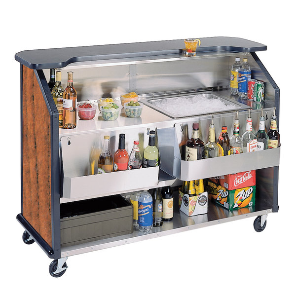 "Lakeside 887VC 63 1/2"" Stainless Steel Portable Bar with Victorian Cherry Laminate Finish, 2 Removable 7-Bottle Speed Rails, and 40 lb. Ice Bin"
