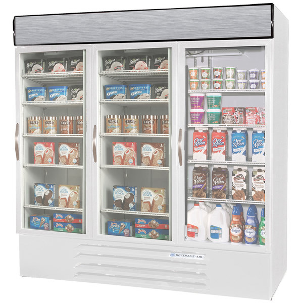 Configuration N Beverage Air Market Max MMRF72-1-WW-LED White 3 Section Glass Door Dual Temperature Merchandiser - 72 Cu. Ft.