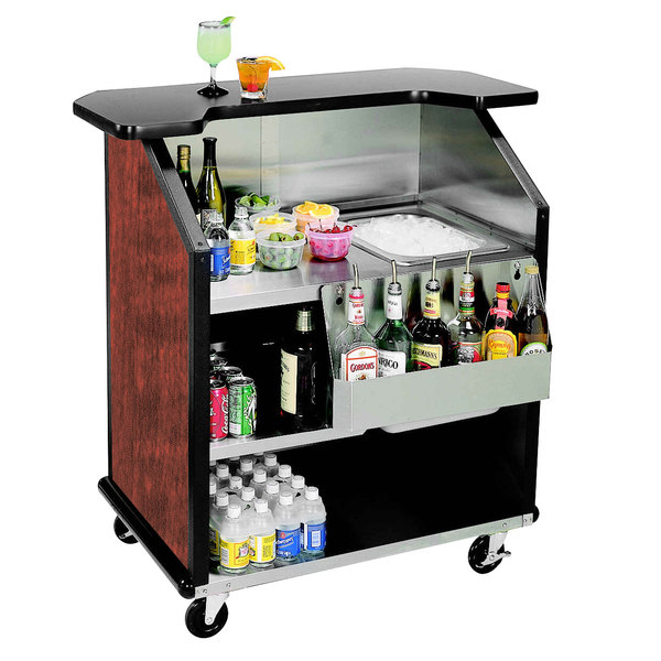 """Lakeside 884RM 43"""" Stainless Steel Portable Bar with Red Maple Laminate Finish, Removable 7-Bottle Speed Rail, and 40 lb. Ice Bin"""
