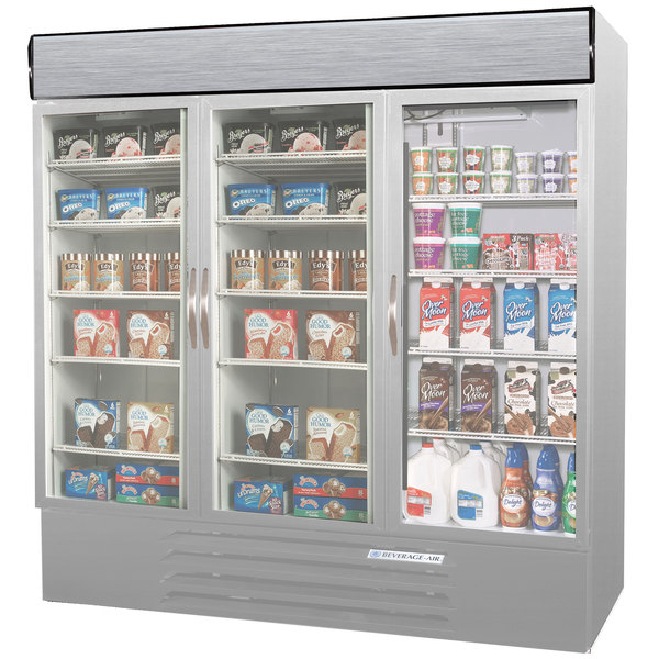 Configuration K Beverage Air MMRF72-1-SW-LED Market Max Stainless Steel Three Section Glass Door Dual Temperature Merchandiser - 72 Cu. Ft.