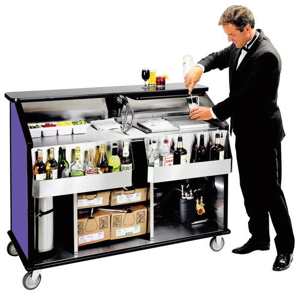 "Lakeside 889 63 1/2"" Stainless Steel Portable Bar with Purple Laminate Finish, 2 Removable 7-Bottle Speed Rails, and 70 lb. Ice Bin"