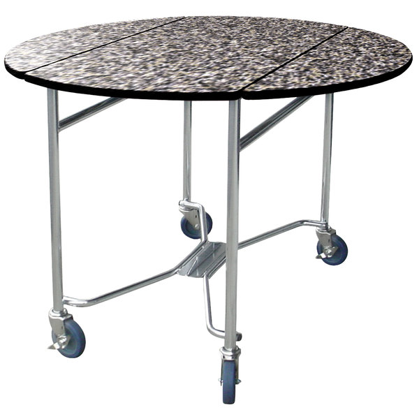 "Lakeside 412GS Mobile Round Top Room Service Table with Gray Sand Finish - 40"" x 40"" x 30"""
