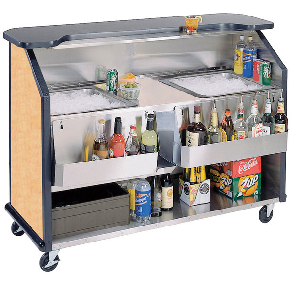 """Lakeside 886 63 1/2"""" Stainless Steel Portable Bar with Hard Rock Maple Laminate Finish, 2 Removable 7-Bottle Speed Rails, and 2 40 lb. Ice Bins"""
