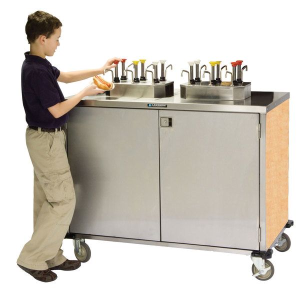 """Lakeside 70210 Stainless Steel EZ Serve 6 Pump Condiment Cart with Hard Rock Maple Finish - 27 1/2"""" x 50 1/4"""" x 47"""""""