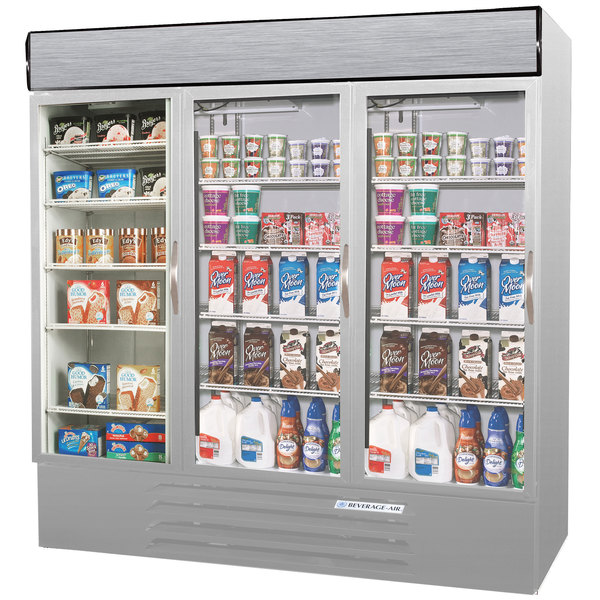 Configuration C Beverage Air MMRF72-1-SW-LED Market Max Stainless Steel Three Section Glass Door Dual Temperature Merchandiser - 72 Cu. Ft.