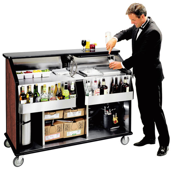 "Lakeside 889 63 1/2"" Stainless Steel Portable Bar with Red Maple Laminate Finish, 2 Removable 7-Bottle Speed Rails, and 70 lb. Ice Bin"