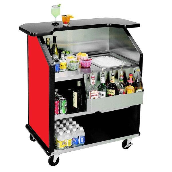 "Lakeside 884 43"" Stainless Steel Portable Bar with Red Laminate Finish, Removable 7-Bottle Speed Rail, and 40 lb. Ice Bin"
