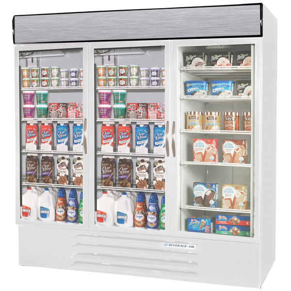 Configuration Q Beverage-Air Market Max MMRF72-1-WW-LED White 3 Section Glass Door Dual Temperature Merchandiser - 72 Cu. Ft.