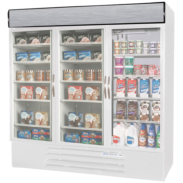 Configuration R Beverage Air Market Max MMRF72-1-WW-LED White 3 Section Glass Door Dual Temperature Merchandiser - 72 Cu. Ft.