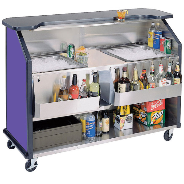 "Lakeside 886 63 1/2"" Stainless Steel Portable Bar with Purple Laminate Finish, 2 Removable 7-Bottle Speed Rails, and 2 40 lb. Ice Bins"