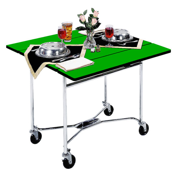 """Lakeside 413 Mobile Square Top Room Service Table with Green Finish - 36"""" x 36"""" x 30"""""""