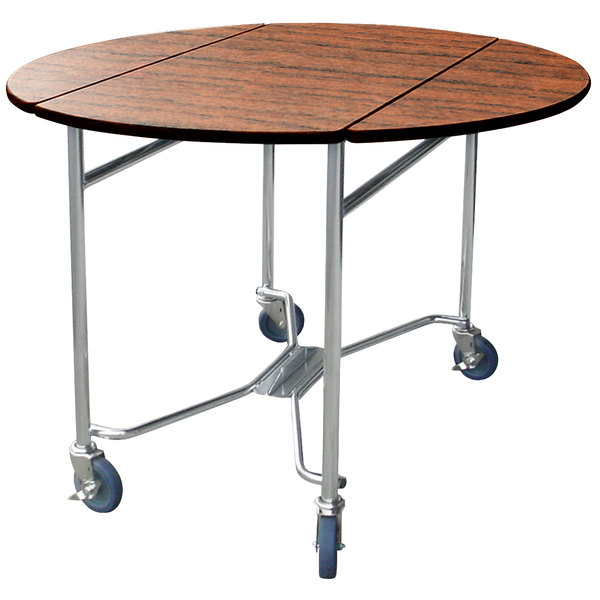 """Lakeside 412 Mobile Round Top Room Service Table with Victorian Cherry Finish - 40"""" x 40"""" x 30"""""""