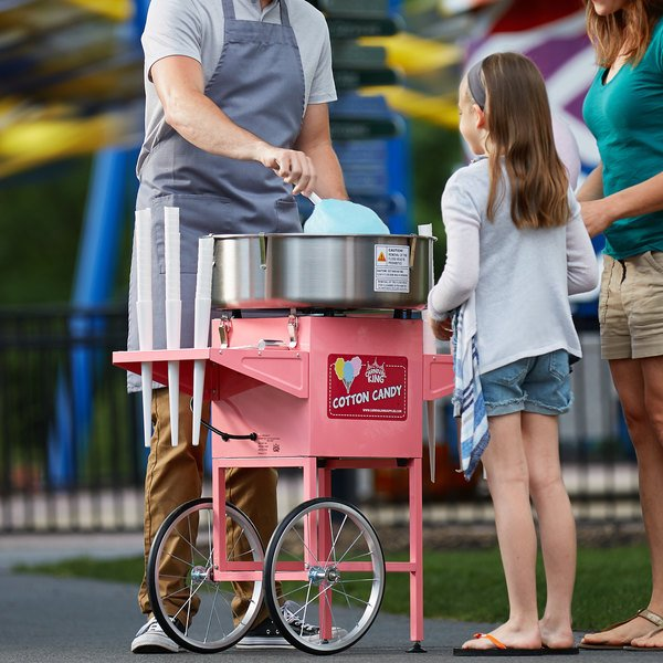 """Carnival King CCM21CT Cotton Candy Machine with 21"""" Stainless Steel Bowl and Cart - 110V, 1050W Main Image 4"""