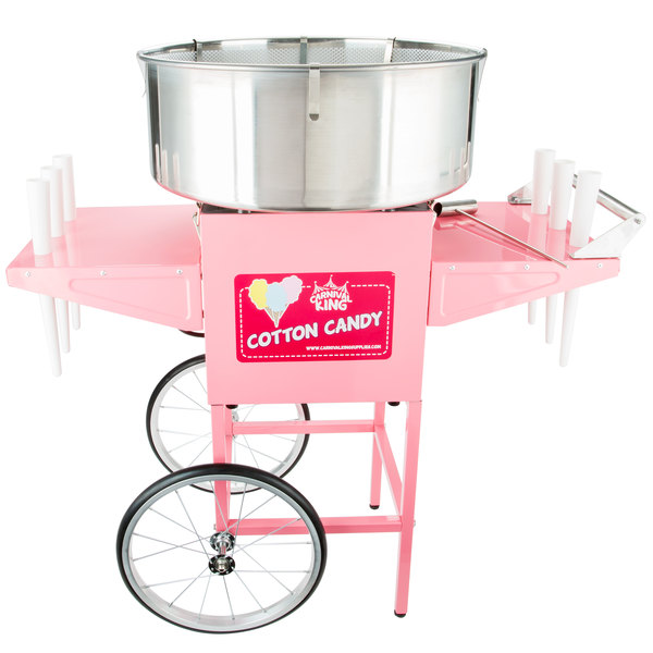 Carnival King CCM21CT Cotton Candy Machine with 21 inch Stainless Steel Bowl and Cart - 110V, 1050W