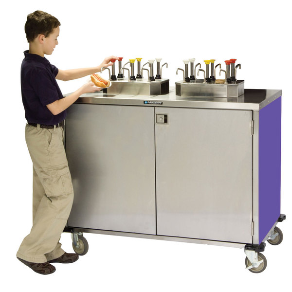 """Lakeside 70270P Stainless Steel EZ Serve 12 Pump Condiment Cart with Purple Finish - 27 1/2"""" x 50 1/4"""" x 47"""""""