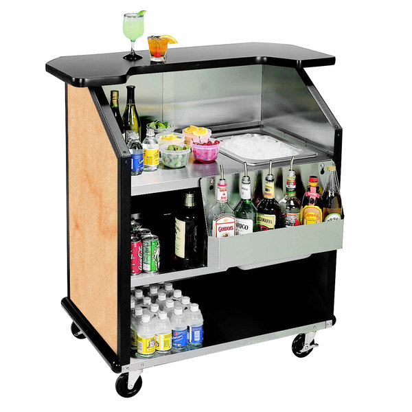 "Lakeside 884HRM 43"" Stainless Steel Portable Bar with Hard Rock Maple Laminate Finish, Removable 7-Bottle Speed Rail, and 40 lb. Ice Bin"
