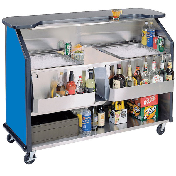 "Lakeside 886 63 1/2"" Stainless Steel Portable Bar with Royal Blue Laminate Finish, 2 Removable 7-Bottle Speed Rails, and 2 40 lb. Ice Bins"