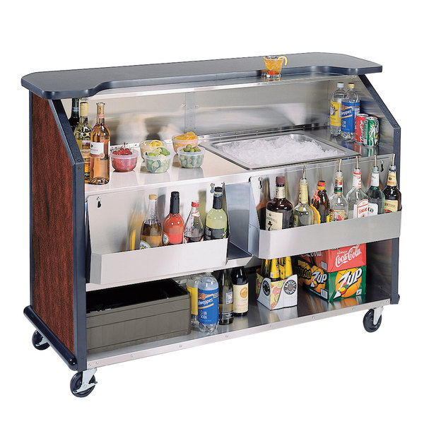 """Lakeside 887 63 1/2"""" Stainless Steel Portable Bar with Red Maple Laminate Finish, 2 Removable 7-Bottle Speed Rails, and 40 lb. Ice Bin"""