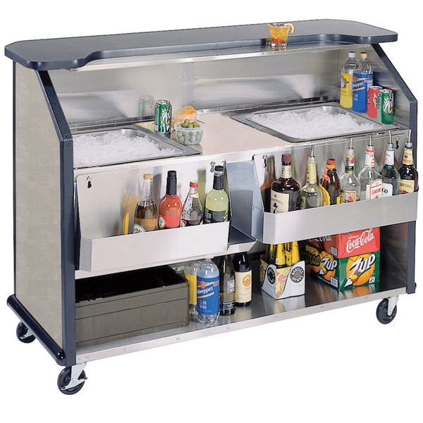 """Lakeside 886BS 63 1/2"""" Stainless Steel Portable Bar with Beige Suede Laminate Finish, 2 Removable 7-Bottle Speed Rails, and 2 40 lb. Ice Bins"""