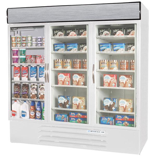Configuration B Beverage Air Market Max MMRF72-1-WW-LED White 3 Section Glass Door Dual Temperature Merchandiser - 72 Cu. Ft.