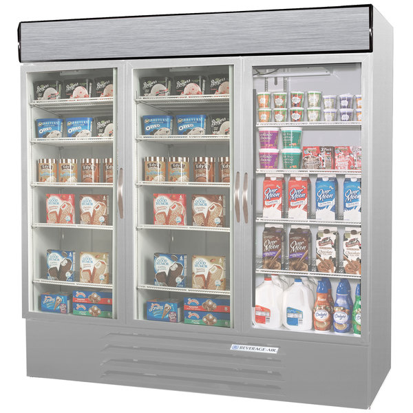Configuration R Beverage Air MMRF72-1-SW-LED Market Max Stainless Steel Three Section Glass Door Dual Temperature Merchandiser - 72 Cu. Ft.
