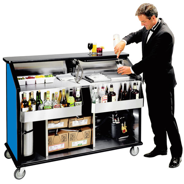 """Lakeside 889 63 1/2"""" Stainless Steel Portable Bar with Royal Blue Laminate Finish, 2 Removable 7-Bottle Speed Rails, and 70 lb. Ice Bin"""