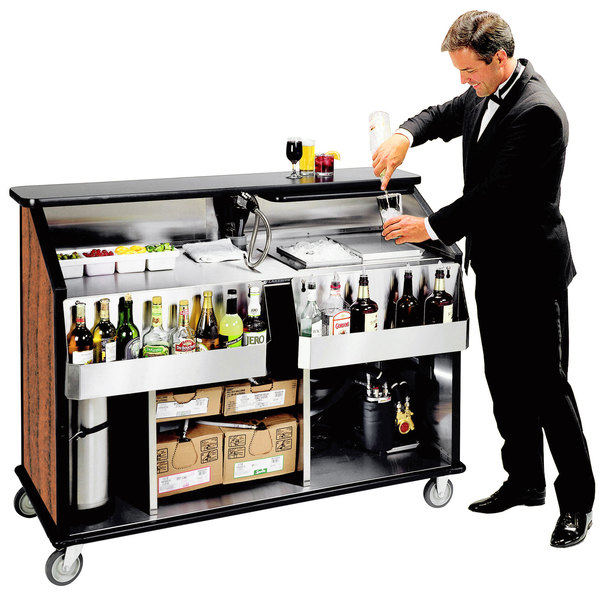 "Lakeside 889VC 63 1/2"" Stainless Steel Portable Bar with Victorian Cherry Laminate Finish, 2 Removable 7-Bottle Speed Rails, and 70 lb. Ice Bin"