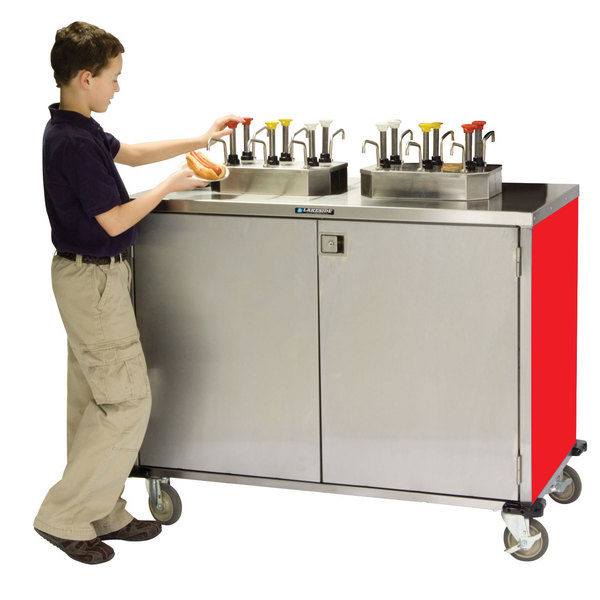 """Lakeside 70270 Stainless Steel EZ Serve 12 Pump Condiment Cart with Red Finish - 27 1/2"""" x 50 1/4"""" x 47"""""""
