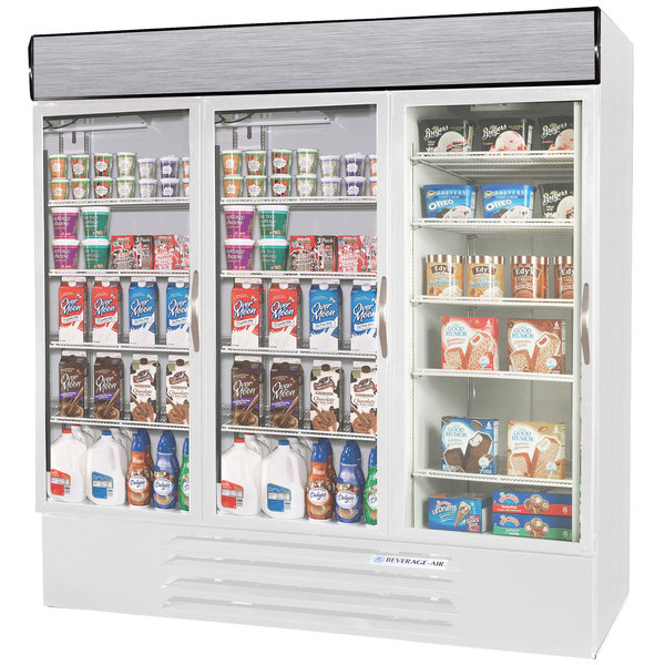 Configuration M Beverage Air Market Max MMRF72-1-WW-LED White 3 Section Glass Door Dual Temperature Merchandiser - 72 Cu. Ft.