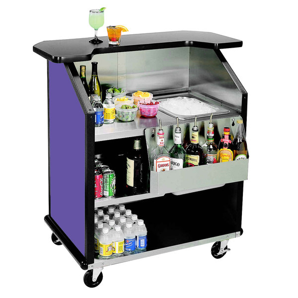 "Lakeside 884 43"" Stainless Steel Portable Bar with Purple Laminate Finish, Removable 7-Bottle Speed Rail, and 40 lb. Ice Bin"