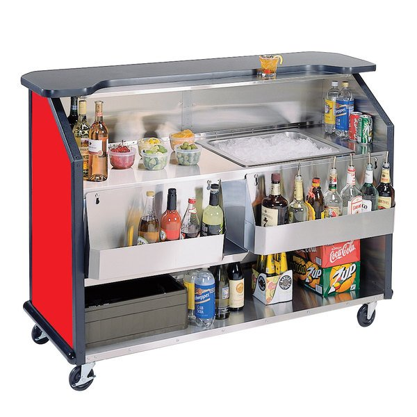 "Lakeside 887RD 63 1/2"" Stainless Steel Portable Bar with Red Laminate Finish, 2 Removable 7-Bottle Speed Rails, and 40 lb. Ice Bin"